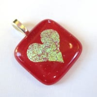 Etched Dichroic Heart Pendant, Heart Jewelry, Couples Jewelry, Fused Glass Jewelry, - Hold Dear -3828 - $19.00 - Handmade Crafts and Vintage Items by MySassyGlass