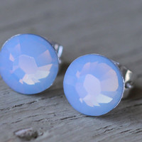 Opal Stud Earrings  Blue Opal Swarovski Crystal by ArtisanTree