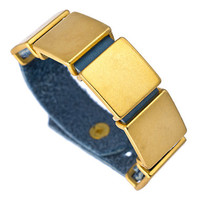 Kelacala Q Light Blue Leather and Square Brass Bracelet - Max & Chloe