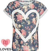 Girls navy floral heart outline t-shirt