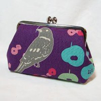 Frame Pouch Modern Bird Purple by fieldofroses on Etsy