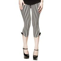 Sourpuss Capri Leggings Black and White Vertical