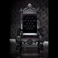 BLACK LACQUER BAROQUE THRONE CHAIR - Chairs