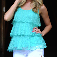 FLASH SALE Lace Play A Game Tank: Teal | Hope's