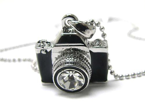 Miniature Camera Pendant White Gold Plated Crystal Stud Necklace