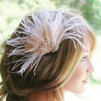 Bridal Hair Accessories, Blush Hair Piece, Bridal Fascinator, Rhinestone Wedding Headpiece, Blush Pink Hair Accessory