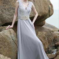 Low V-Neck Grey Floor Length Evening Dress