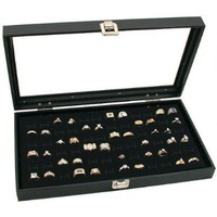 Glass Top Black Jewelry Display Case 72 Slot Ring Tray:Amazon:Home & Kitchen
