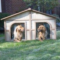 Merry Products Duplex Wood Dog House | www.hayneedle.com