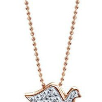 "Alex Woo ""Little Faith"" Diamond And 14k Rose Gold Peace Dove Pendant, 16"""