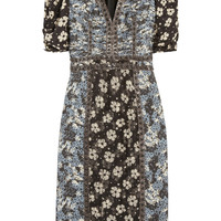 Bottega Veneta | Snake-trimmed printed silk dress  | NET-A-PORTER.COM
