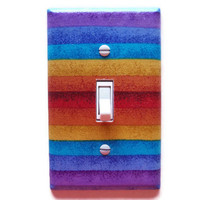 Colorful Stripes Single Toggle Switch Plate, wall decor
