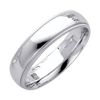 14K White Gold 5mm COMFORT FIT Plain Milgrain Wedding Band Ring for Men & Women (Size 4 to 12) - Size 12