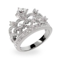Dazzling Crown Tiara Sterling Silver & CZ Ring:Amazon:Jewelry