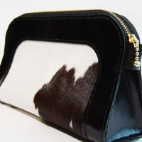 Black leather/calfskin fur clutch/cosmetic bag