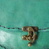 Real Handmade light Green Leather Cross body