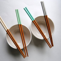 Set of 4 Paint Dipped Premium Bamboo Chopsticks - Sandy Beach Collection - Mint, Ivory, Grey, Blue