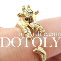 Miniature Baby Giraffe Animal Hug Ring in SHINY Gold Sizes 4 to 9
