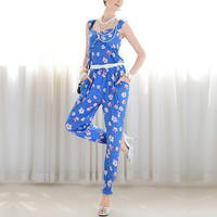 Slim thin blue flower print strap Siamese trousers_Bottoms_Pant_Mili fashion Trade Co.Ltd