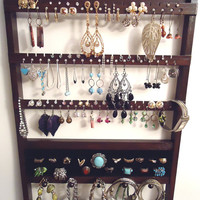 Jewelry Holder, 20 Ring Holder, Hanging, Brown, Oak Hardwood 16 Peg Bracelet Necklace Organizer, 54-108 Earring Display, Ready To Ship