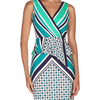 Mixed-Print Peplum Dress, Aqua Mist