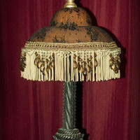 "Haunted House Prop Victorian ""Antique"" Lamp Halloween, Steam Punk, Fringe Beaded"