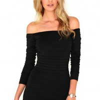Missguided - Coralie Bandage Bardot Mini Dress In Black