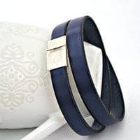 Navy blue leather bracelet double wrapped by TyssHandmadeJewelry