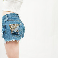 "Vintage High Waisted Studded Shorts ""The Wendy'"""