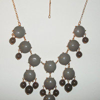LARGE Bubble Necklace J Crew Inspired - Two Tone Grey Statement Bib Necklace