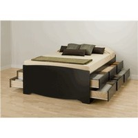 Prepac Sonoma Tall Queen Platform Storage Bed, Black:Amazon:Home & Kitchen
