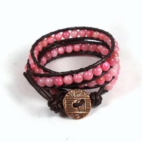 Triple Beaded Leather Wrap Bracelet Pink Shell and Copper