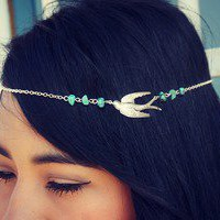 alapop — silver bird and turquoise chain headband