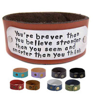 Christopher Robin Inspirational Bracelet - Hand Stamped Leather Cuff - Braver Than You Believe