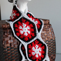 Women - Handmade Scarf and Slouchy Hat - Hexagons - Red, Black, and White