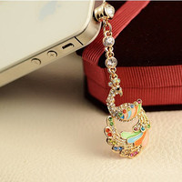 1PC Bling Crystal Colorful Feather Phoenix Earphone Antidust Plug Charm for iPhone 5 & 4, Samsung S4 3, Nokia,HTC