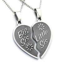Big Sis Lil Sis Necklace - Big Sis & Lil Sis Break Apart Heart Pendant 2 Half Hearts (2) 18 Inch Chains