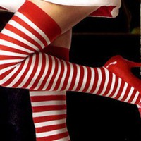 Women Thigh-High Striped Stocking Socks Christmas Costume Winter Must-have 1AB