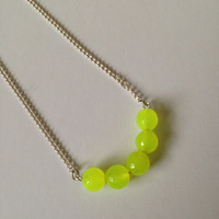 Neon Yellow Faceted Jade Beads on Silver Chain