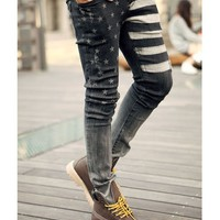 Fashion Mens Stylish Skinny Wash Jeans Denim Trousers Print Pants 29-36 yj428