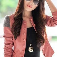 pink spring PU jacket elegant unique shoulder sale s128 from YRB