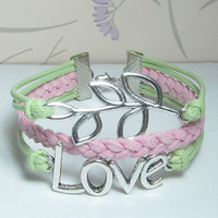 Love Bracelet and Leaves Bracelet-Light Green Wax Cords and Light Pink Braid bracelet.