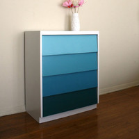 Ocean Waves Ombre Painted Wood Dresser. Pantone. Teal. Beach House. Blue Green.