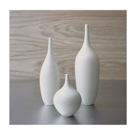 Set of 3 Modern White Small Ceramic Bottle Vases by Sara Paloma
