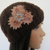 Brown Cable Knit Beanie  with Taupe Shabby Chiffon Fabric Flowers with a Matching Silver Amber Stone  Flower Accent