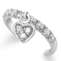 B. Brilliant Sterling Silver Toe Ring, Cubic Zirconia Dangle Heart Toe Ring (1/3 ct. t.w.) - Rings - Jewelry & Watches - Macy's