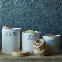 Labeled Kitchen Storage Canisters