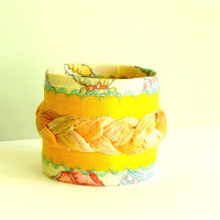 Funky Summer bracelet cuff , textile jewelry, textile cuff, fabric bracelet, fabric cuff, eco friendly bracelet, soft jewelry, yellow