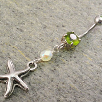 Starfish Belly Button Ring Peridot Green Barbell by MidnightsMojo