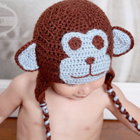 Crochet Baby Animal Hat for Newborn, Babies and Toddlers - Monkey Hat
